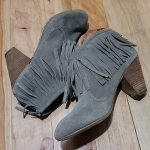 Betsey Johnson Fringe Suede Ankle Boot